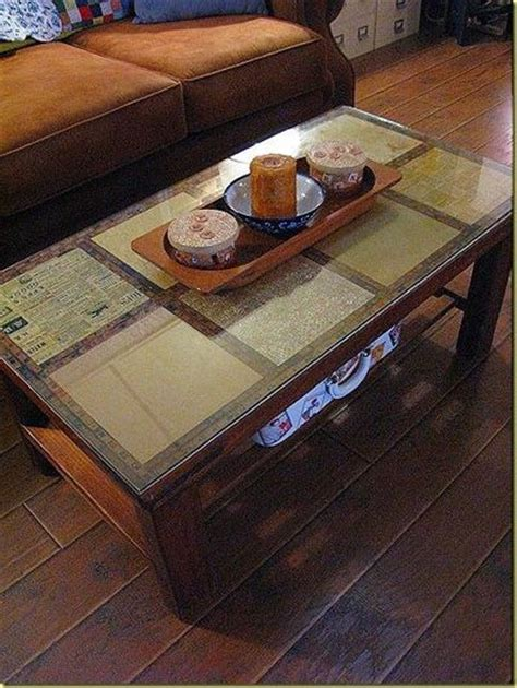 Decoupage Coffee Table - decoupage a coffee table using scrapbook paper then us