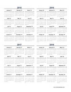 4 year calendar 2015 2016 2017 2018 calendar 2017 2018