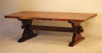 farmhouse trestle dining table with wooden base made from