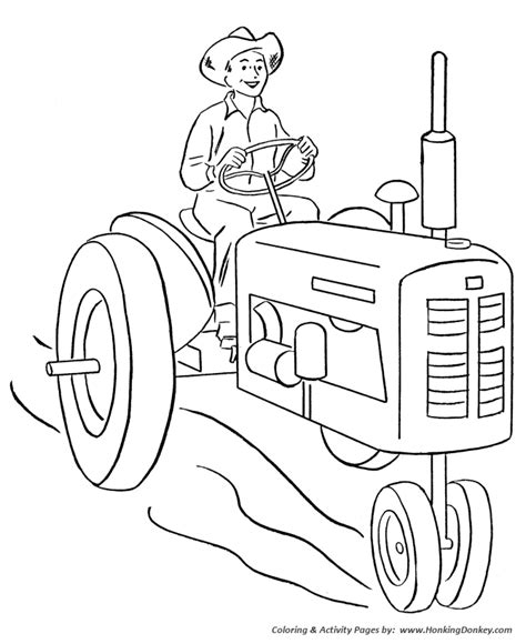 farm tractor coloring pages printable happy farmer