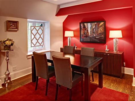 Red Dining Rooms by Red And Silver Accents In Contemporary Dining Room Hgtv