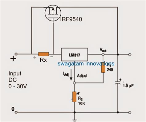 mosfet transistor high current lm317 with outboard current boost transistor circuit