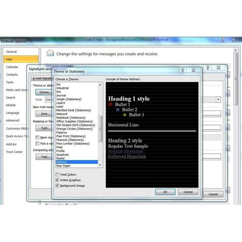 themes microsoft outlook 2010 how to use and create stationery for microsoft outlook