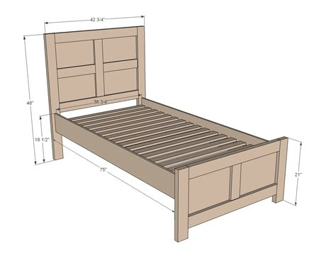 twin bed dimensions ana white emme twin bed diy projects