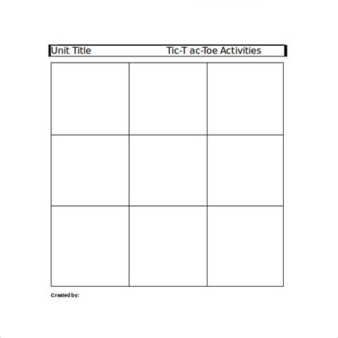 Tic Tac Toe Template Word tic tac toe sle 19 exle format