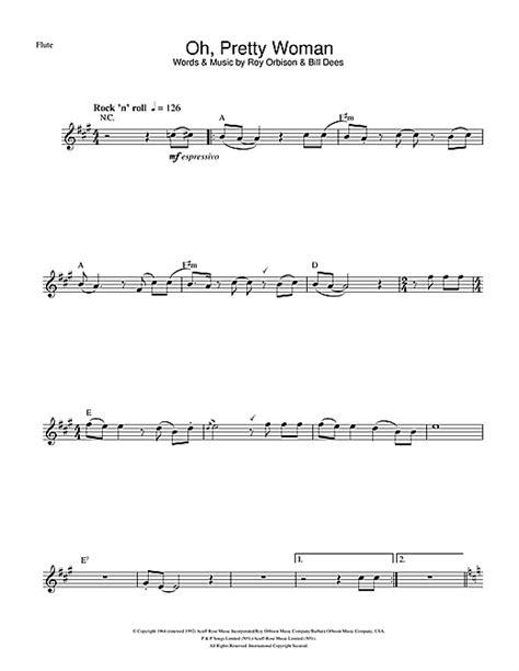 pretty testo oh pretty sheet by roy orbison flute 104721