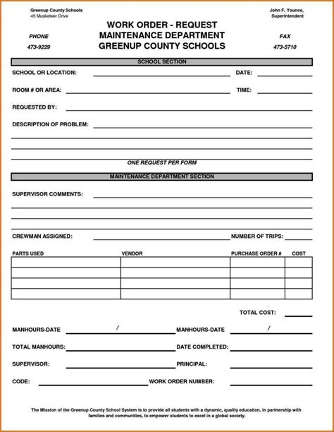 Maintenance Work Order Form Template Sletemplatess Sletemplatess Maintenance Request Log Template