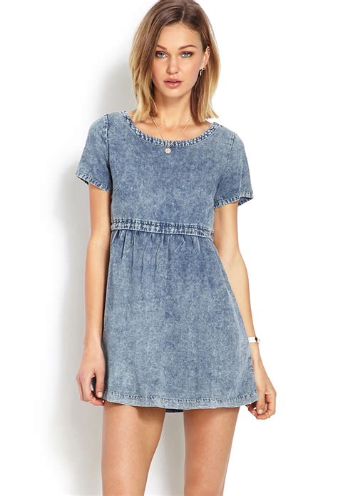 Dress Baby Doll Denim lyst forever 21 distressed denim babydoll dress in blue
