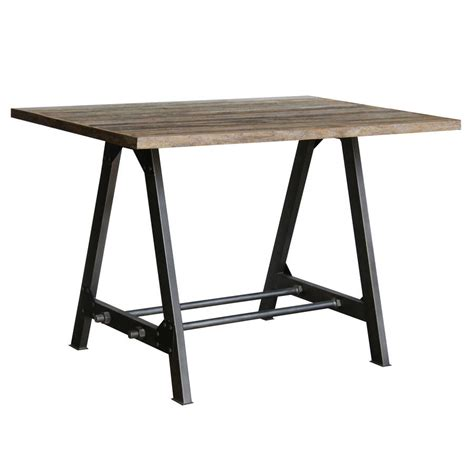industrial vintage wood and steel dining table by the