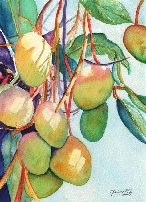 Mango Original Pink mangoes watercolor painting original from kauai hawaii