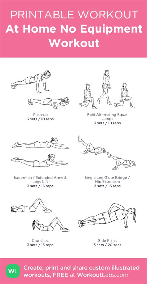 at home no equipment workout my custom workout created