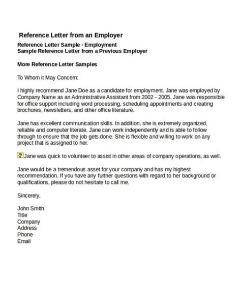 job reference letter templates word