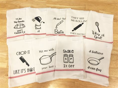 Kitchen Towels With Sayings Kitchen Towels Housewarming Gift 9 Sayings Kitchen Puns