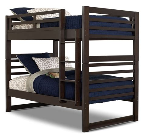 Chadwick Twin Twin Bunk Bed Espresso The Brick Bunk Bed Mattress
