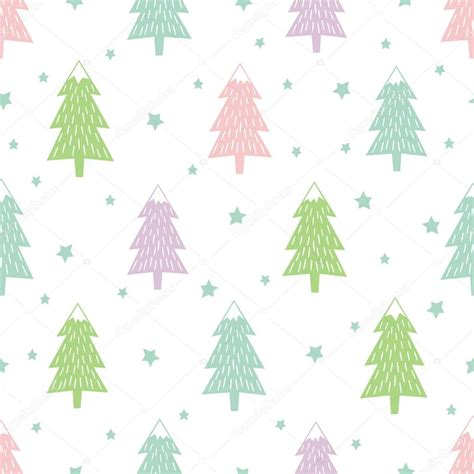 christmas tree new year pattern pastel happy new year background simple seamless retro