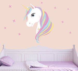 Wall Stickers For Childrens Bedroom colourful unicorn amp stars wall art vinyl stickers girls