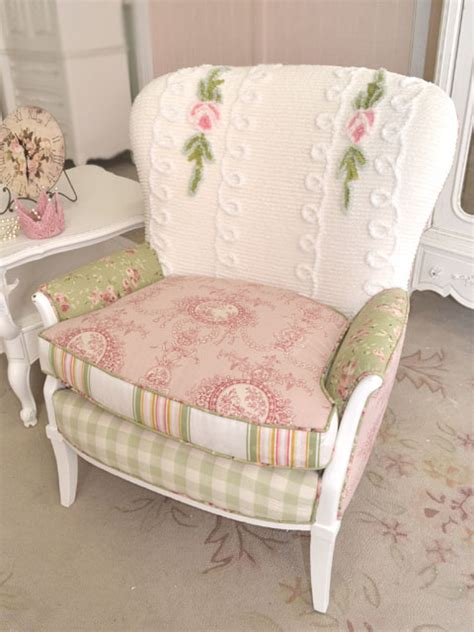shabby cottage chic white pink sage rose chenille chair