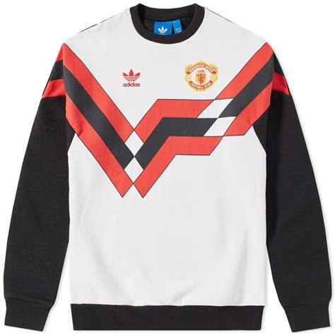 Manchester United White adidas manchester united fc crew sweatshirt black white