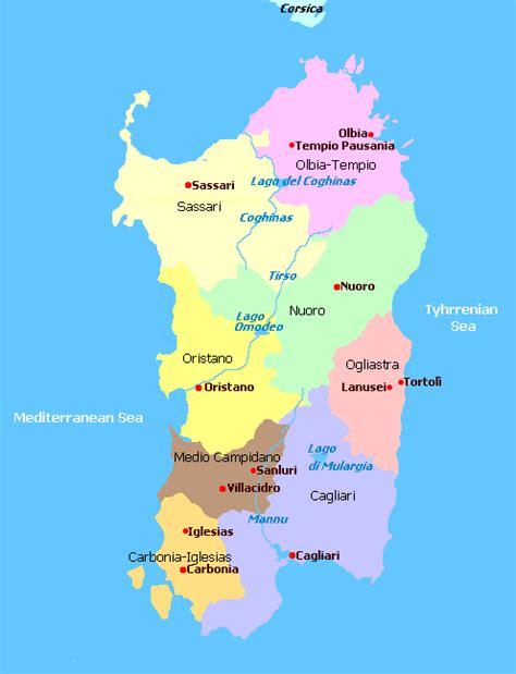 sardinia map capital sardinia map