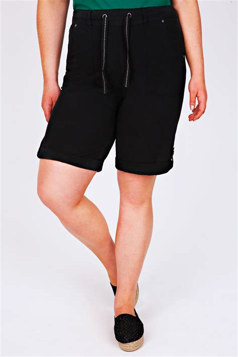 Hotpants 5 Button Size 27 30 black cool cotton roll up shorts with tab button detail plus size 14 to 30
