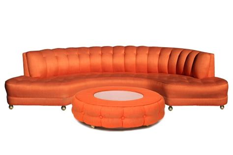 custom 1950 s orange sofa ottoman modern furniture