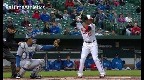 inside out swing baseball adam jones slow motion inside out rbi baseball swing