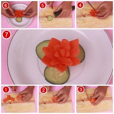 cara membuat makanan ringan dari wortel cara membuat garnish bunga dari wortel