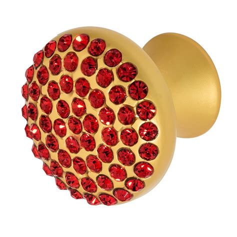 red crystal drawer pulls wisdom stone vivacite 1 1 4 in satin gold with red