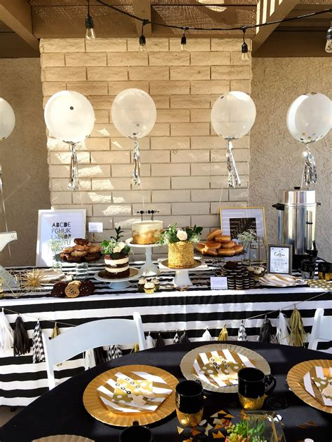 Black And White Themed Baby Shower by Black White Gold Baby Shower Sweet Lou