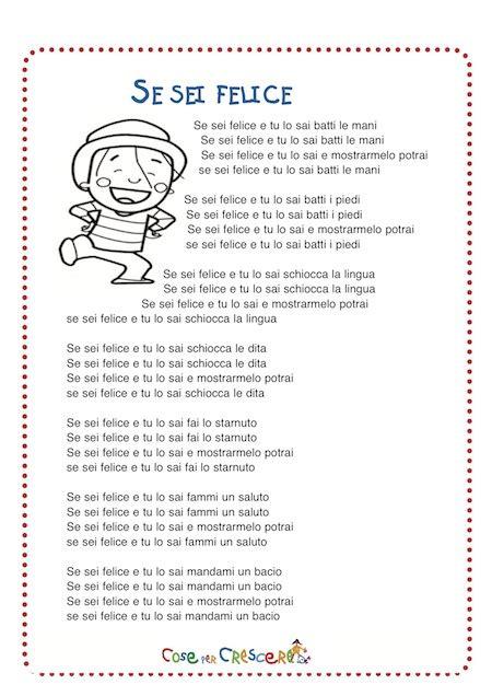 sei testo se sei felice testo canzone per bambini e