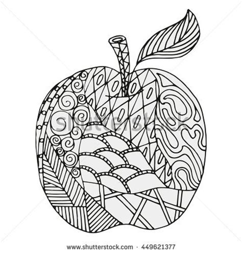 apple coloring pages for adults honey apple doodle beeshand drawn vector stock vector