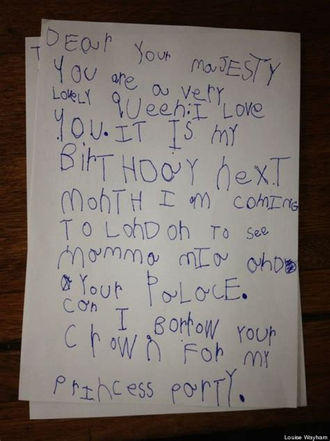 Ee  Cute Ee   Kid Note Of The Day A Letter To The Queen Huffpost