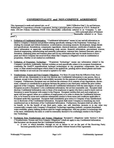 Confidentiality And Non Compete Agreement Template Free Download Non Compete Agreement Pennsylvania Template