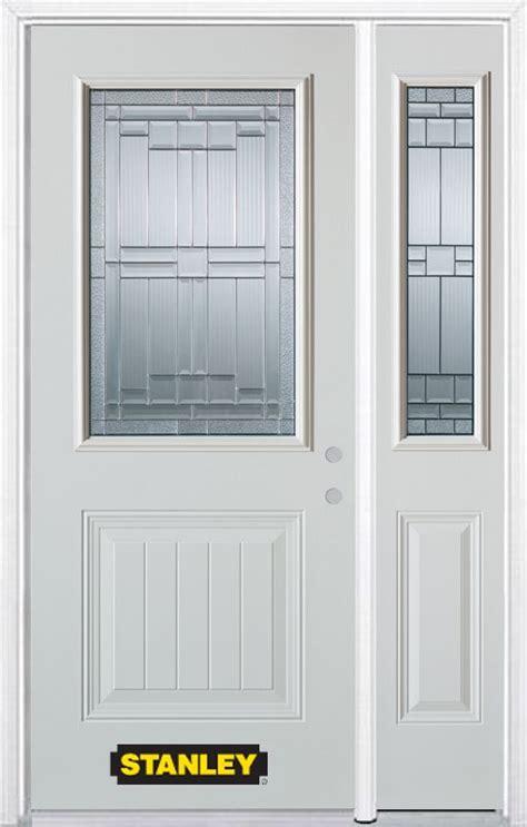 48 Inch Exterior Door Stanley Doors 48 Inch X 82 Inch Seattle 1 2 Lite 1 Panel White Steel Entry Door With Sidelite