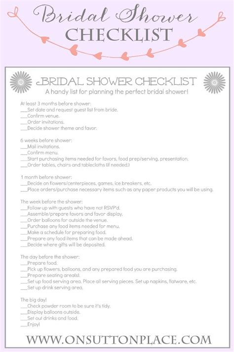 printable bridal shower list handy printable checklist to help plan the perfect bridal