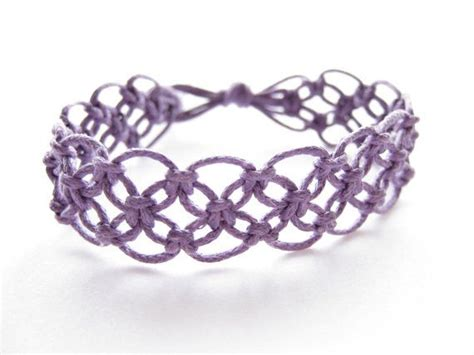 Hemp Knots Patterns - lacy macrame bracelet pattern tutorial pdf purple step by