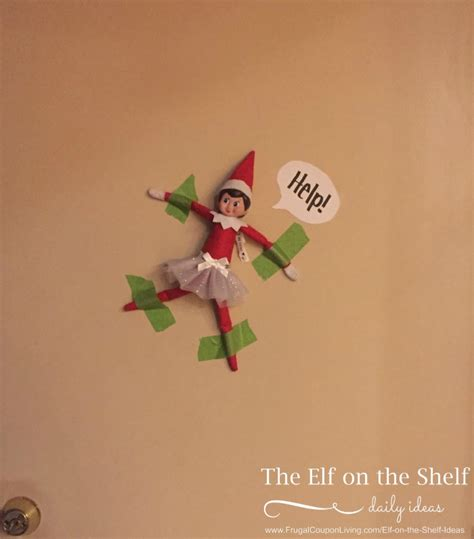 elf on the shelf ideas elf is taped to the wall