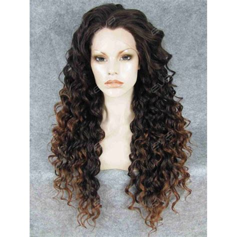 ombre synthetic hair brown ombre long curly synthetic lace front wig