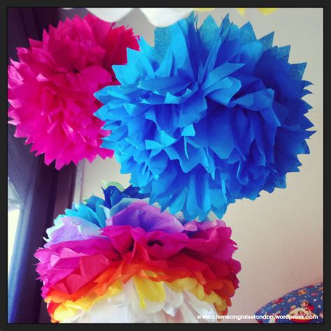 Pom Poms From Tissue Paper - rainbow tissue paper pom poms tutorial cremeanglaise