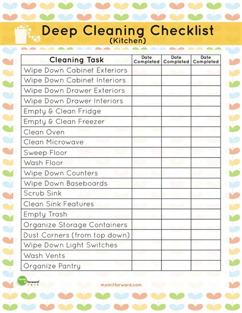 printable cleaning checklist new calendar template site