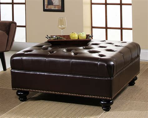 ottoman living room furniture dark brown with tufted and nailhead leather