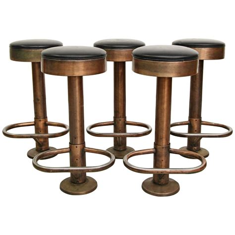 Copper Counter Stool by Set Of Five Copper Machine Age Industrial Column Counter