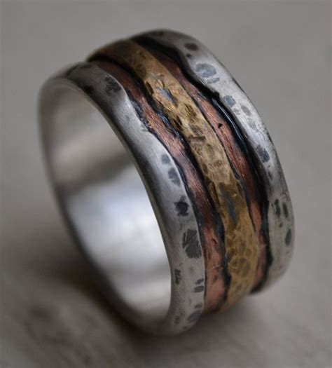 Mens Handmade Wedding Bands - mens wedding band rustic silver copper and brass
