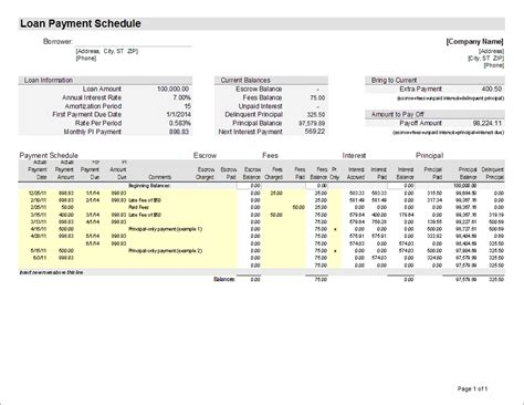 amortization schedule excel template schedule in excel monthly