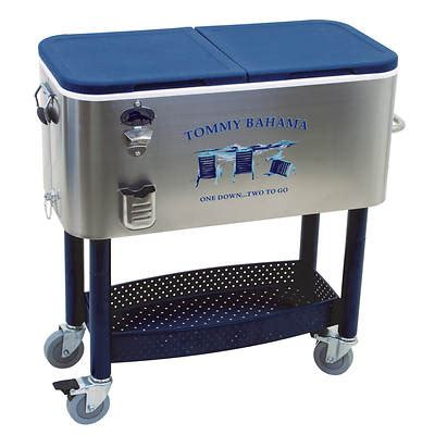 tommy bahama stainless steel cooler on wheels tommy bahama patio cooler 77 qt stainless steel