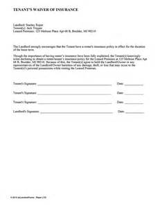 Release Letter From Landlord Tenant S Waiver Of Insurance Ez Landlord Forms