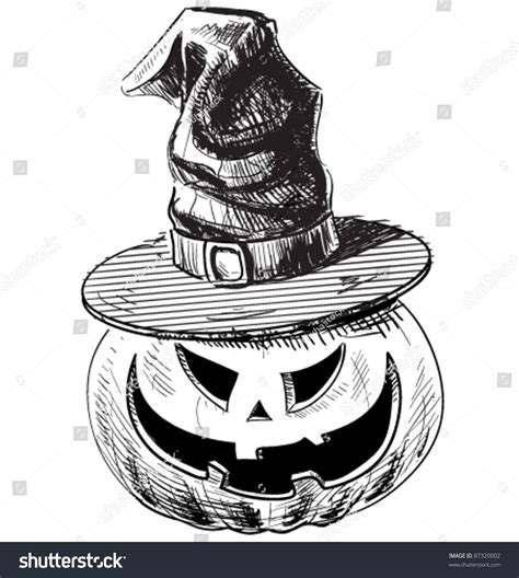 doodle witch hat pumpkin in magic witch hat with evil scary smile