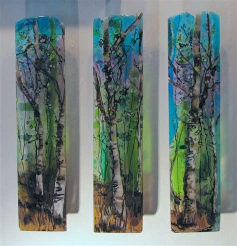 glass wall decor three part harmony by benvie gebhart glass wall