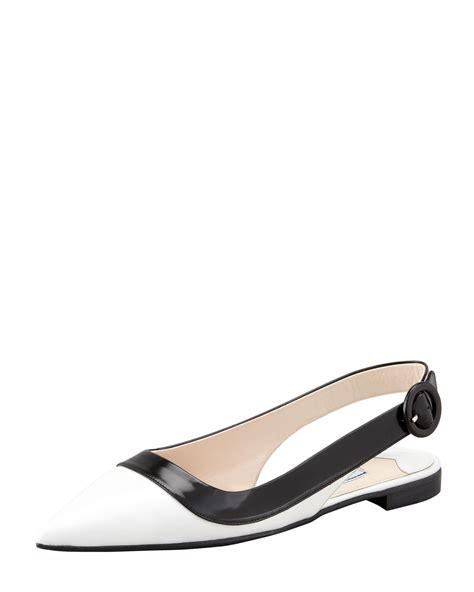 flat slingback shoes prada womens bi color pointed toe slingback flat ijshoes
