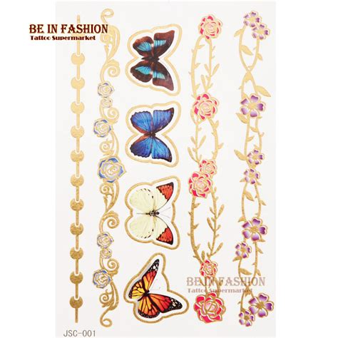 Tatoo 02a548r Gold Flash Model 10 fashionable 1pc gold silver 3d butterfly flower tattoos